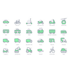 transport side view simple line icons vector image