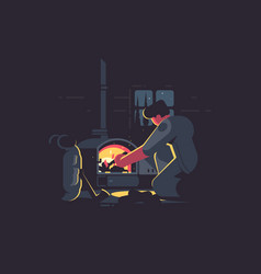 Traveler man warm by furnace vector