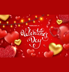 valentines day background with red and golden vector image