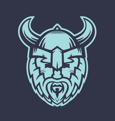 Vikings logo element warrior in helmet with horns vector
