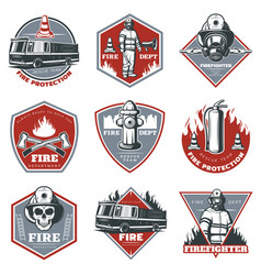 vintage firefighting labels set vector image