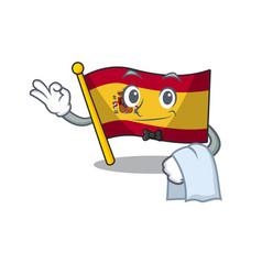 Waiter flag spain isolated in cartoon vector