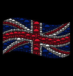 Waving uk flag collage of parachute icons vector