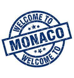 Welcome to monaco blue stamp vector