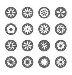 White flower flat icon set vector