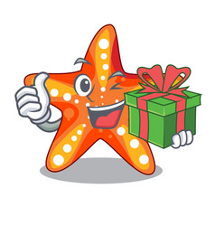 With gift starfish isolated with in the cartoons vector