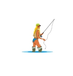 Woman holding a fishing rod sign vector