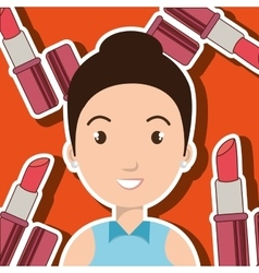 Woman make up brush vector