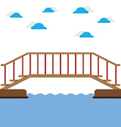 Wooden Bridge Over The River vector