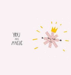 You magic snowflake winter christmas season card vector