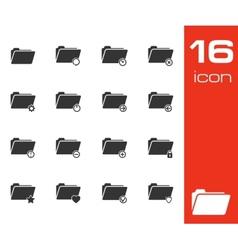 black folder icons set on white background vector image vector image