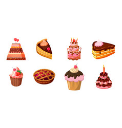cake icon set cartoon style vector image vector image
