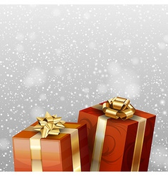 christmas gifts with falling snow red vector image vector image