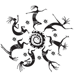 dancing figures in a circle vector image