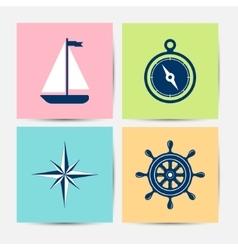 Marine symbols and icons vector image