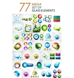 Mega set of glass abstract shapes design elements vector image