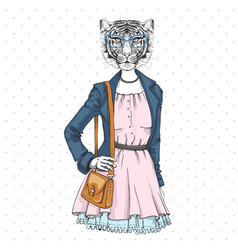 Retro hipster fashion animal tiger woman model vector