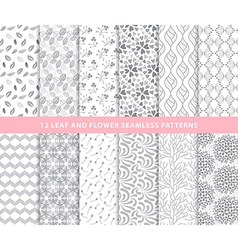 Set of leaf and flower seamless patterns vector image vector image