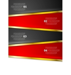 Bright red black infographics design with golden vector image
