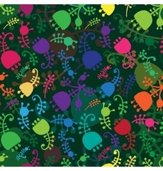 colorful floral cartoon seamless background vector image vector image