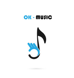 Human hand icon with musical note logo design vector
