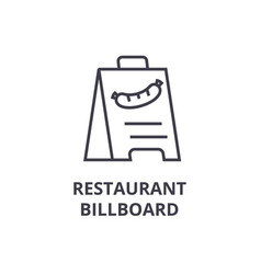 restaurant billboard line icon outline sign vector image
