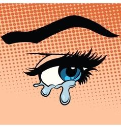 Woman eyes tears crying vector