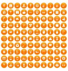 100 holidays icons set orange vector image vector image