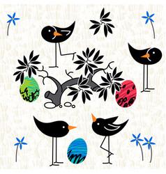 cute birds baby shower invitation card design vector image
