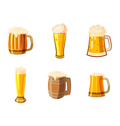 glass of beer icon set cartoon style vector image vector image