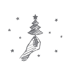 Hand drawn small fir-tree in human fingers vector image