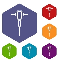 Pneumatic plugger hammer icons set vector