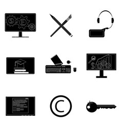 remote work icons set black silhouette vector image
