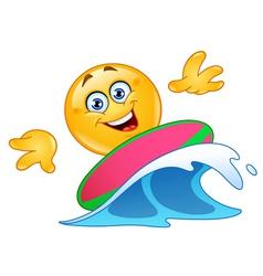 surfing emoticon vector image vector image