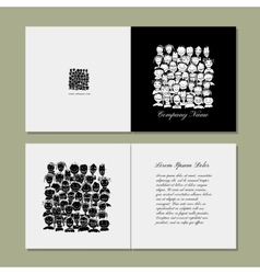 Book cover design people crowd vector image vector image