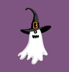 cute halloween ghost in hat vector image