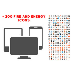 electronic devices icon with bonus flame set vector image