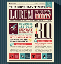 Happy Birthday card design layout newspaper style vector image vector image