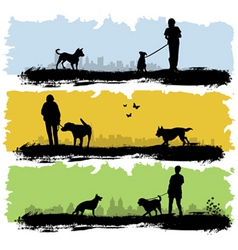 people with dog vector image