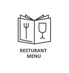 restaurant menu line icon outline sign linear vector image