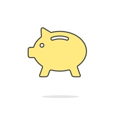simple yellow piggy bank icon with shadow vector image vector image