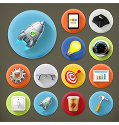 Start up long shadow icon set vector image