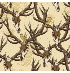 Vintage seamless background with a deer skull vector