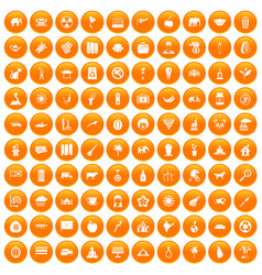 100 elephant icons set orange vector