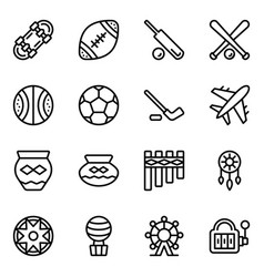 American sports and tribal elements outline icons vector