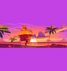 beach hut or bungalow at beautiful sunset view vector image