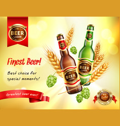 beer realistic ad composition vector image