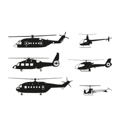 Black helicopter silhouette vector image