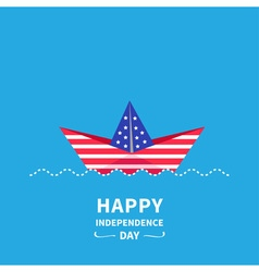 Boat Happy Independence Day vector image vector image