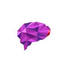 Brain purple polygonal symbol logo vector